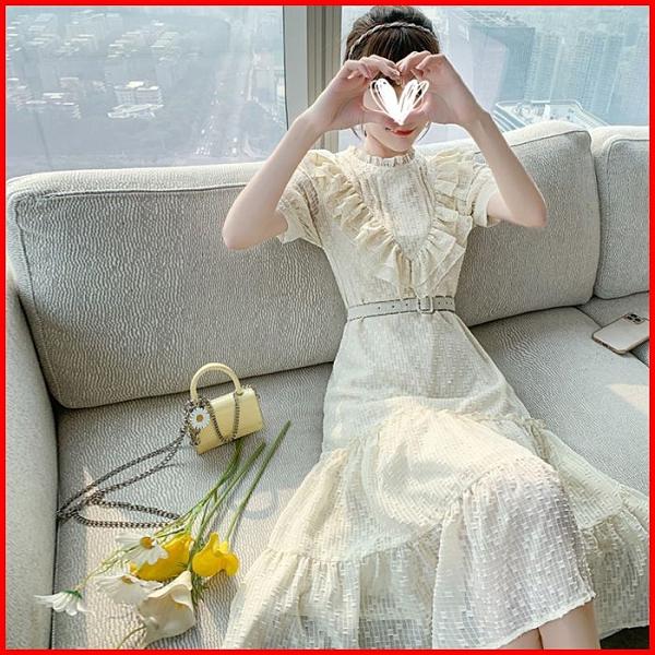 韓系春夏短袖洋裝婚禮宴會派對連身裙設計感收腰顯瘦連衣裙 依二衣