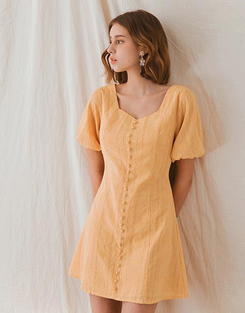 復古領小圓釦合身洋裝