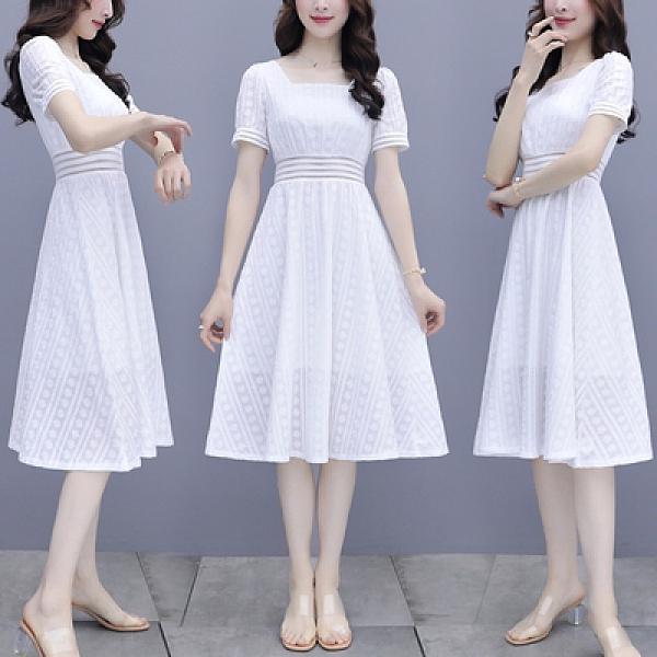 兩件套裝短袖白色連衣裙女夏季氣質顯瘦法式仙氣超仙森系夏天方領裙子H362紅粉佳人