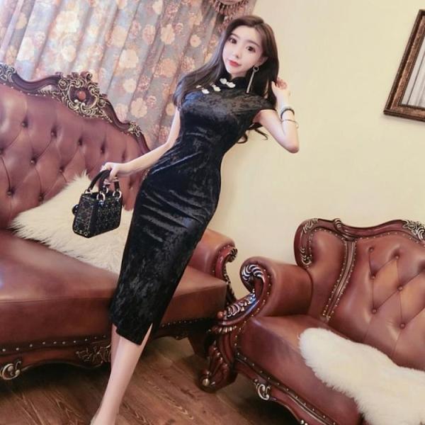2021年春季新款氣質年輕款少女旗袍性感包臀顯瘦中長款禮服連衣裙14 幸福第一站