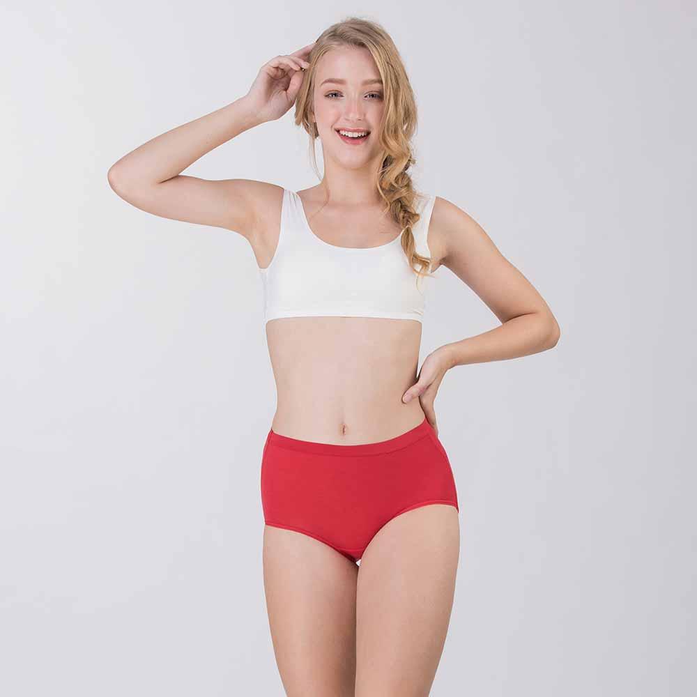 Pure5.5-修身超彈中腰女三角褲-熱情紅 (商品編號:V0700320)