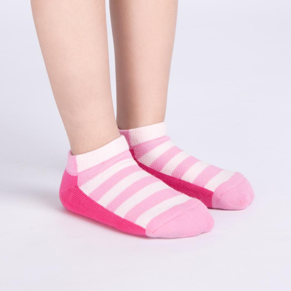 拚色條紋踝襪-粉(S0602481S)