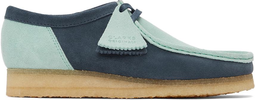 Clarks Originals 蓝色 & 绿色 Wallabee 2 CLR 绒面革莫卡辛鞋