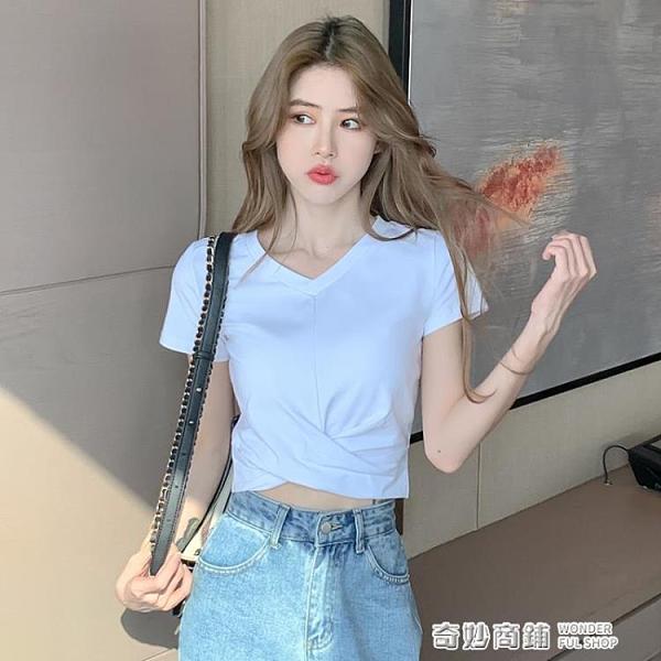 白色短款上衣女短袖ins潮小個子修身半袖緊身露臍高腰設計感t恤 奇妙商鋪