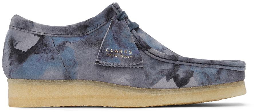 Clarks Originals 蓝色 Wallabee 迷彩绒面革莫卡辛鞋