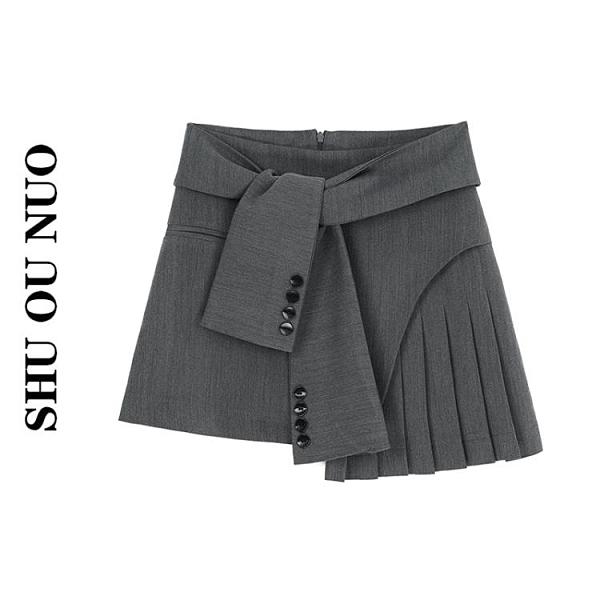百褶半身裙女短裙夏款小眾設計約會不規則裙子6 幸福第一站