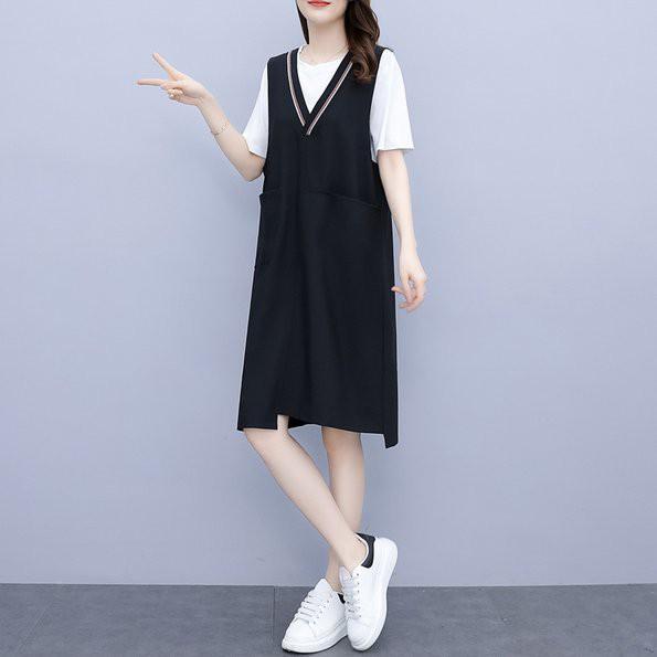 洋裝 長版衣 兩件套裙L-5XL中大尺碼棉花糖V領背心裙簡約款5F013.897胖胖美依