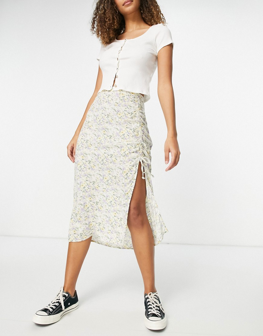 Hollister midi floral slit skirt in white floral print