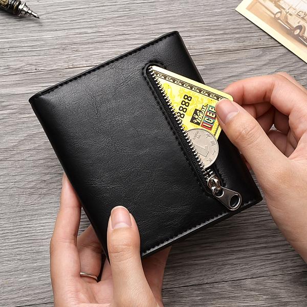 多功能皮夾男生卡包商務短夾 復古三折男士男款多卡位錢夾 零錢包男士短款錢包 韓版豎款男錢包