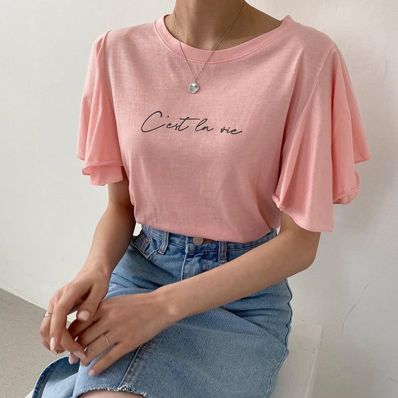 韓國空運 - Seravi split-sleeve short-sleeved T-shirt 短袖上衣