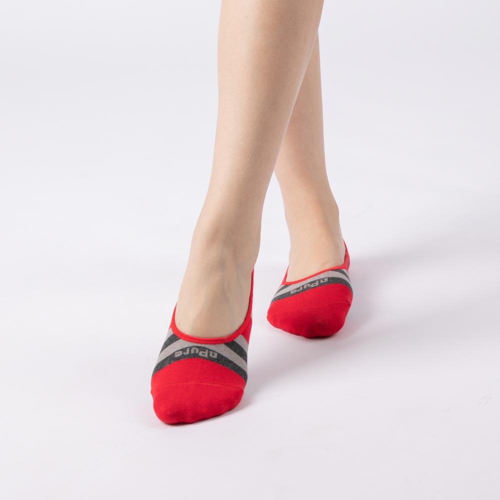 女條紋隱形襪-紅色 (商品編號:S0502821)