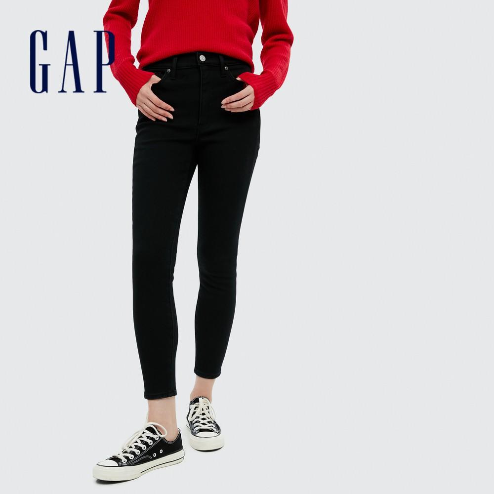 Gap 女裝 時尚抓絨內裡高腰牛仔褲 656448-黑色