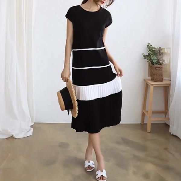 洋裝 韓系春夏拼色寬鬆皺皺氣質短袖連身長裙 共3色 依二衣