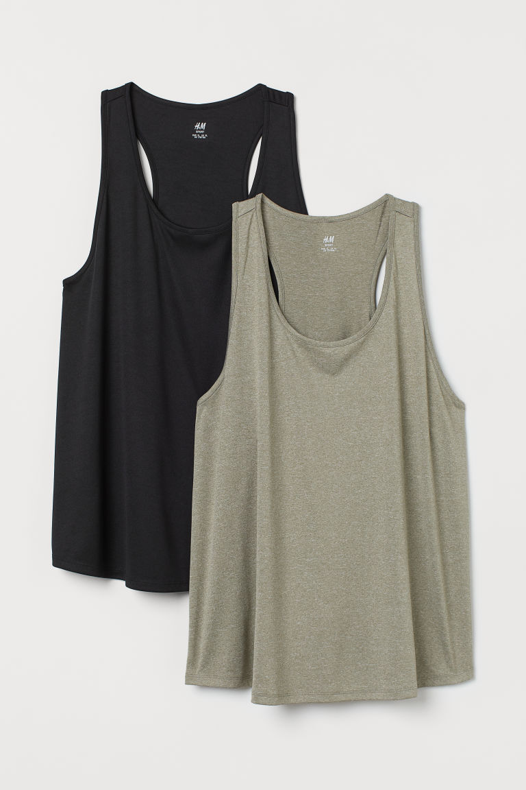 H & M - H & M+ 2件入運動背心上衣 - 綠色