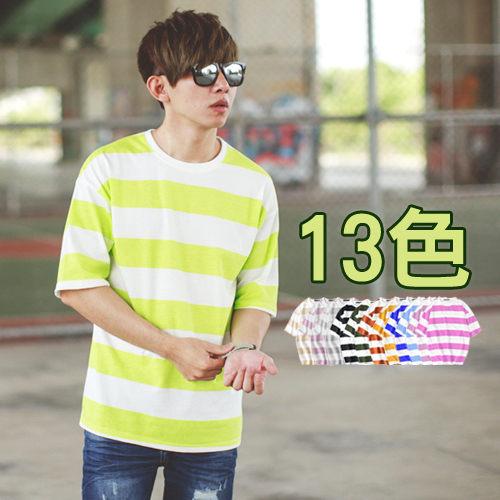 【NB0241J】韓國製落肩 寬橫條紋圓領短T(LE-DD082)