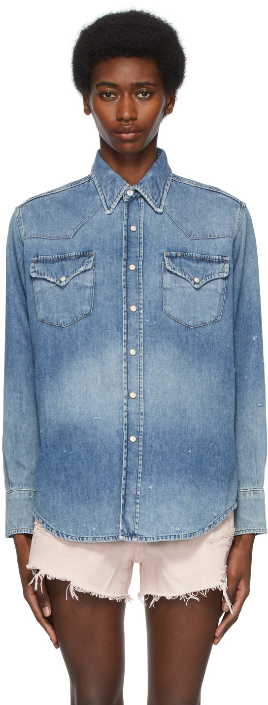 R13 蓝色 Freddie Cowboy 衬衫
