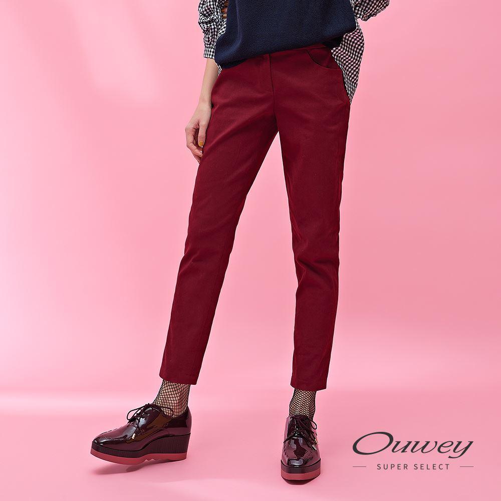 OUWEY歐薇 磨毛修身提臀簡約窄管褲(紅)H51656