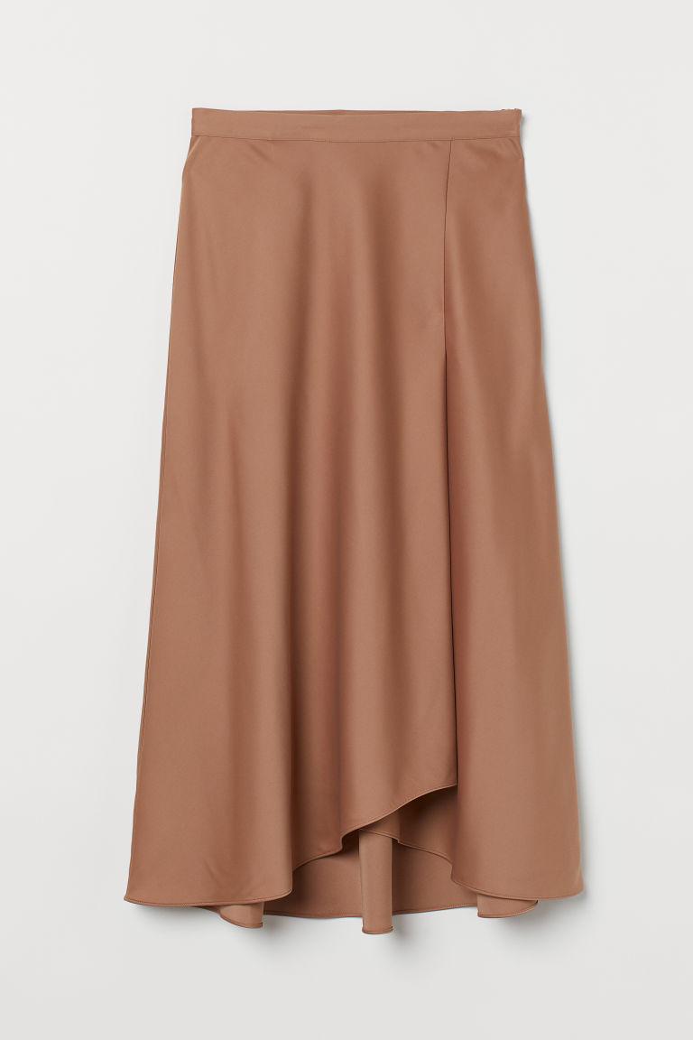 H & M - 綢緞中長裙 - 米黃色