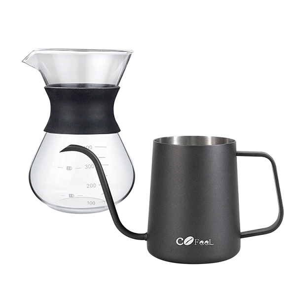 CoFeel凱飛 玻璃濾杯咖啡壺400ml+不鏽鋼咖啡手沖壺細嘴壺600ml