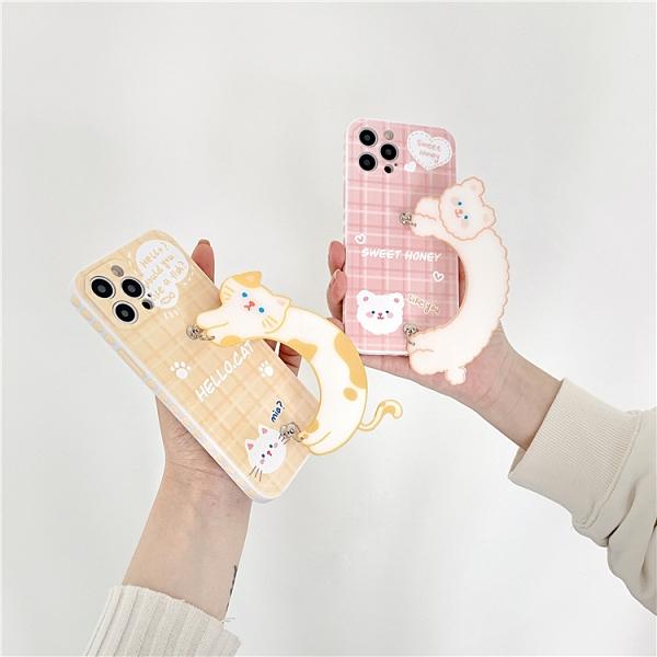 韓國可愛貓咪手環 適用 iPhone12Pro 11 Max Mini Xr X Xs 7 8 plus 蘋果手機殼