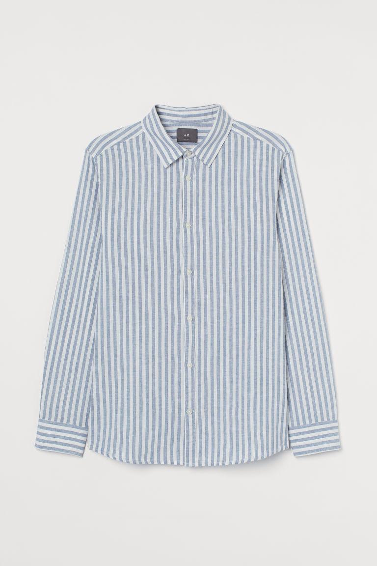 H & M - 貼身亞麻混紡襯衫 - 藍色