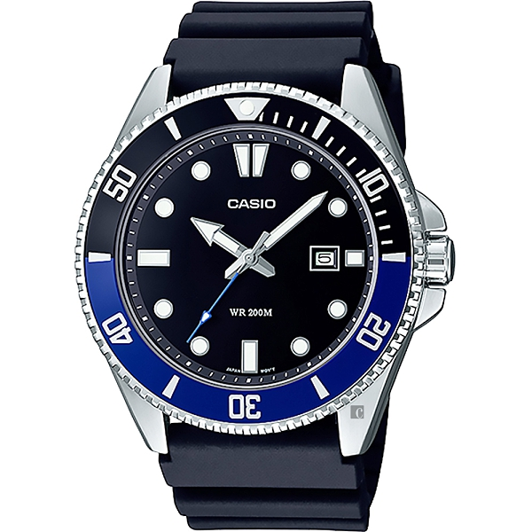 CASIO 新槍魚 MDV-107-1A2 200米潛水錶-黑藍水鬼
