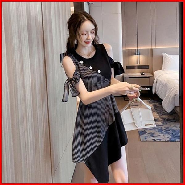 韓系春夏短袖洋裝婚禮宴會派對連身裙條紋拼接連衣裙 依二衣