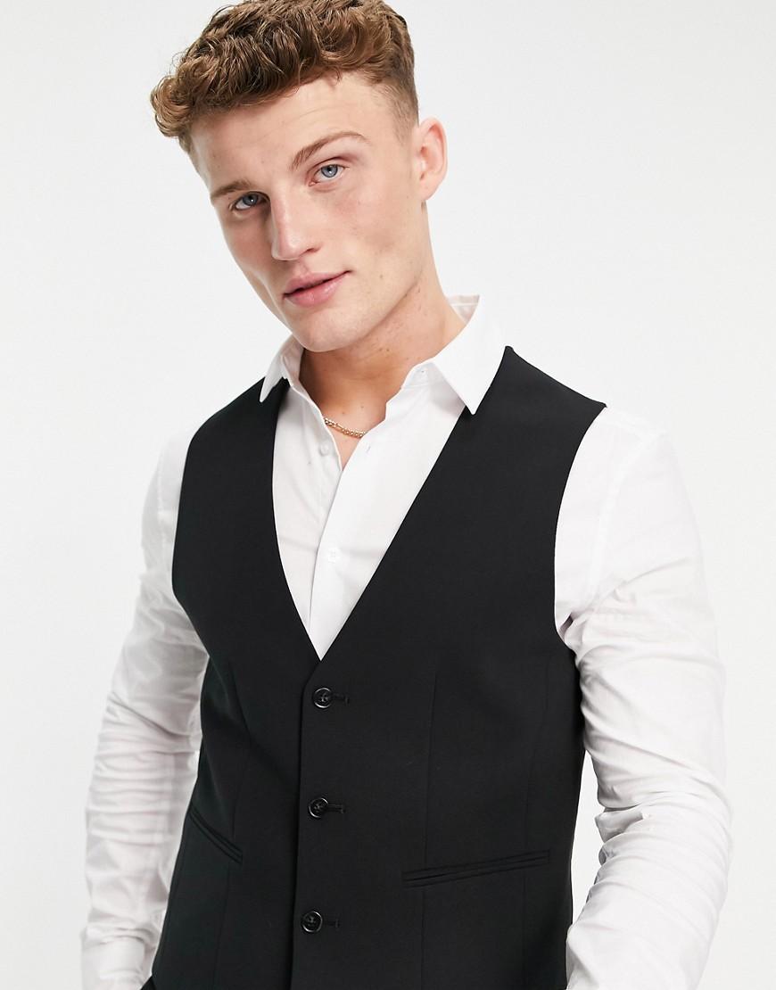 ASOS DESIGN super skinny waistcoat in black