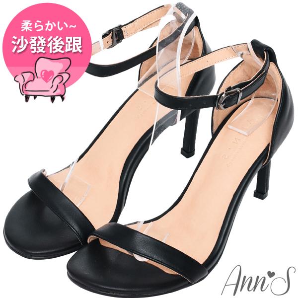 拇指外翻闆娘自留款Ann'S不踩雷美腿製造機一字帶涼鞋-細帶8公分高跟-黑