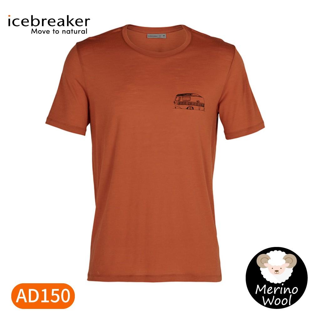【Icebreaker 男 Tech Lite圓領短袖上衣AD150《破冰高峰-火焰橘》】IB105543/短T/T恤