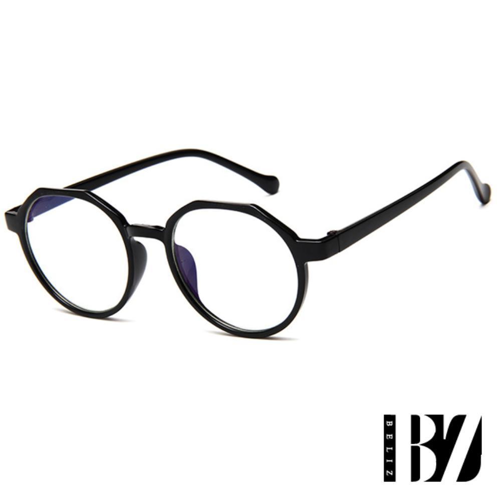 【BeLiz】輕巧六角*中性塑料黑框平光眼鏡