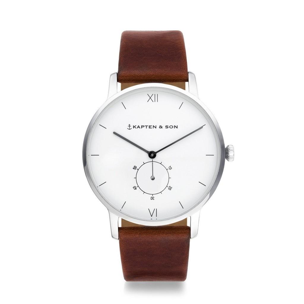 HERITAGE典藏系列-圈圈小秒針輕奢真皮手錶(咖啡)