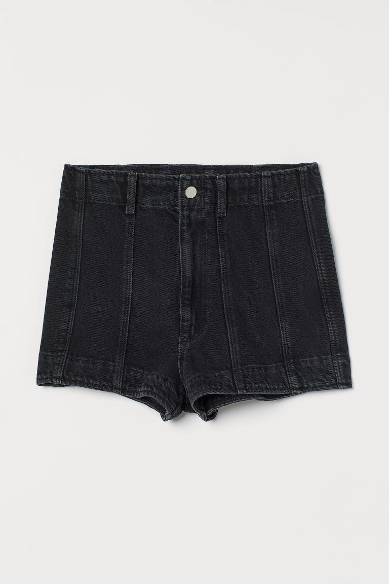 H & M - 丹寧超短褲 - 黑色
