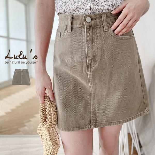 LULUS【A05210034】C斜紋布短裙S-L淺咖0408
