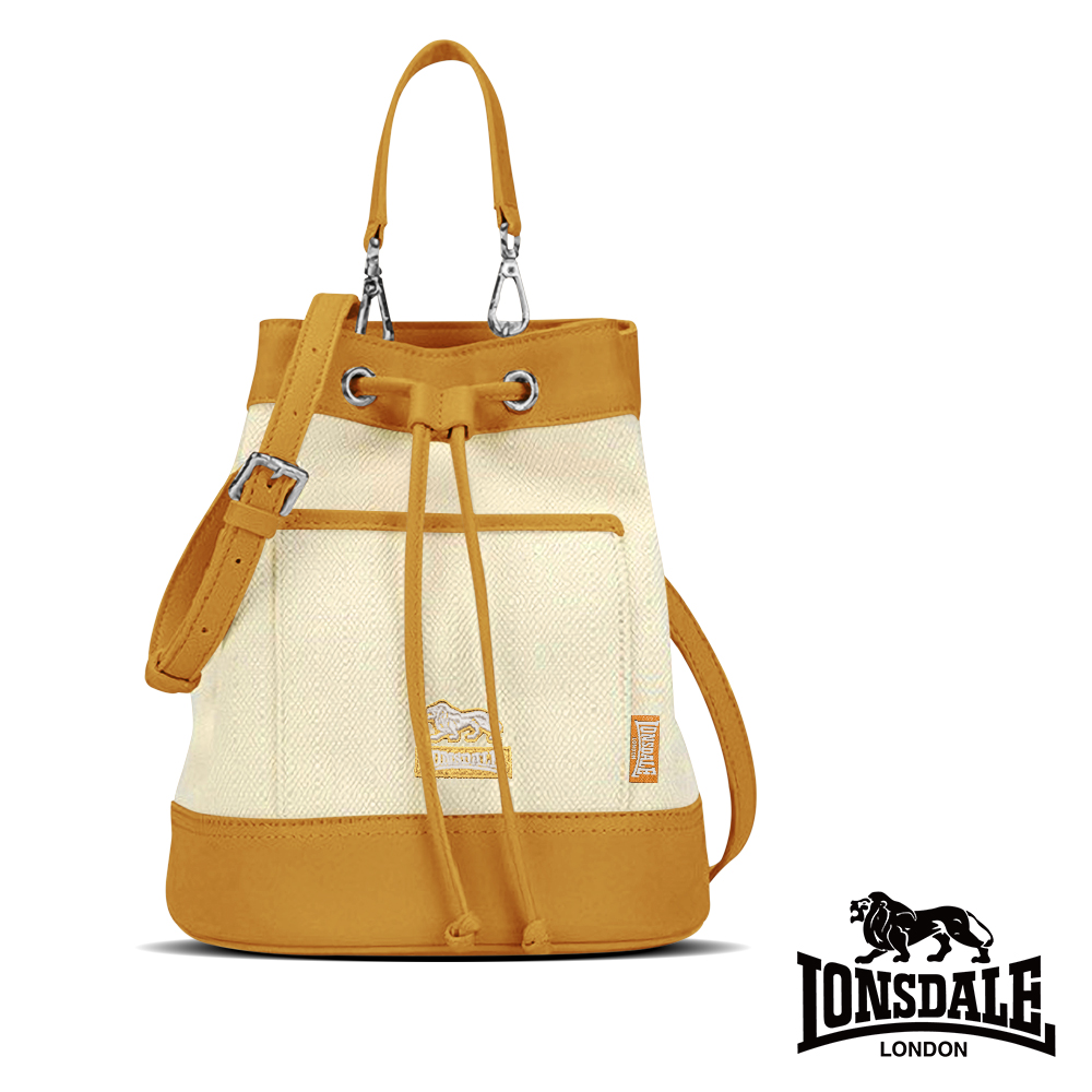 【LONSDALE 英國小獅】帆布皮革飾邊束口水桶包 LD1324-鵝黃