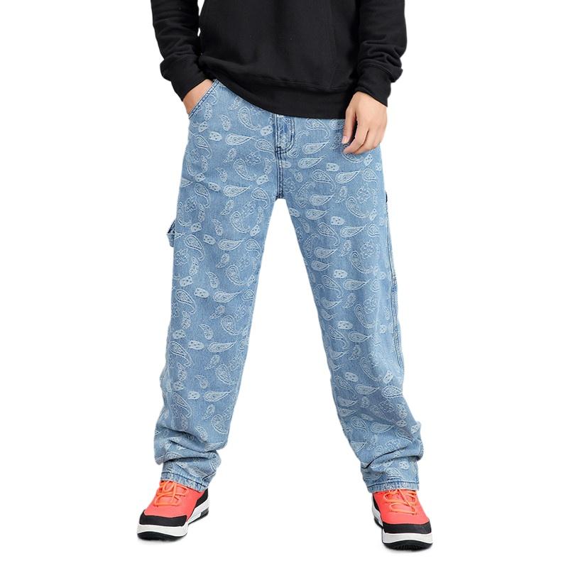 牛仔褲男 潮流印花大碼牛仔褲 男士寬鬆嘻哈酷帥直筒闊腿長褲子