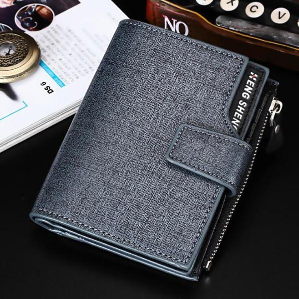 韓版豎款男錢包 搭扣三折皮夾男生卡包商務短夾 男士百搭男款多卡位錢夾 零錢包男士短款錢包