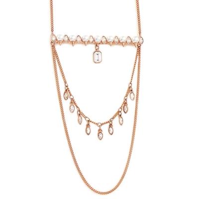 SWAROVSKI 玫瑰金色珍珠水晶鑲嵌多層次垂墜項鍊