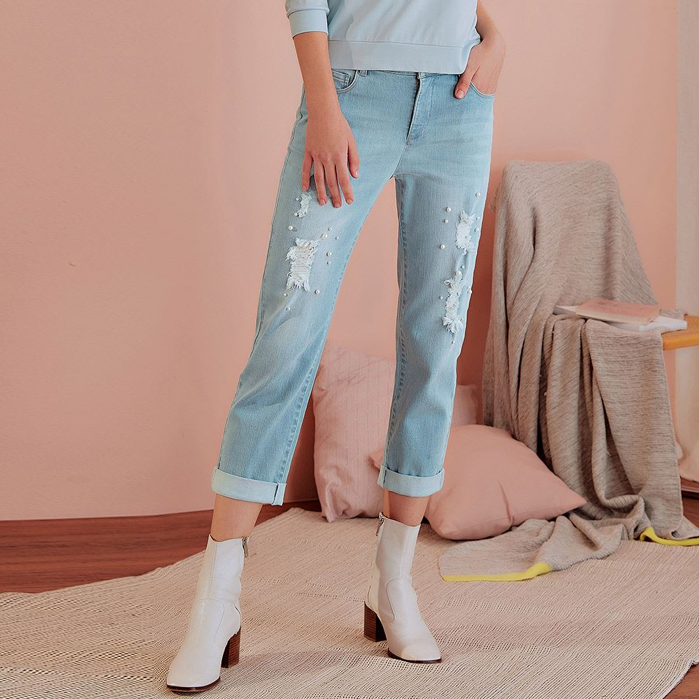 OUWEY歐薇 珍珠刷破微彈七分直筒牛仔褲(藍)J57630