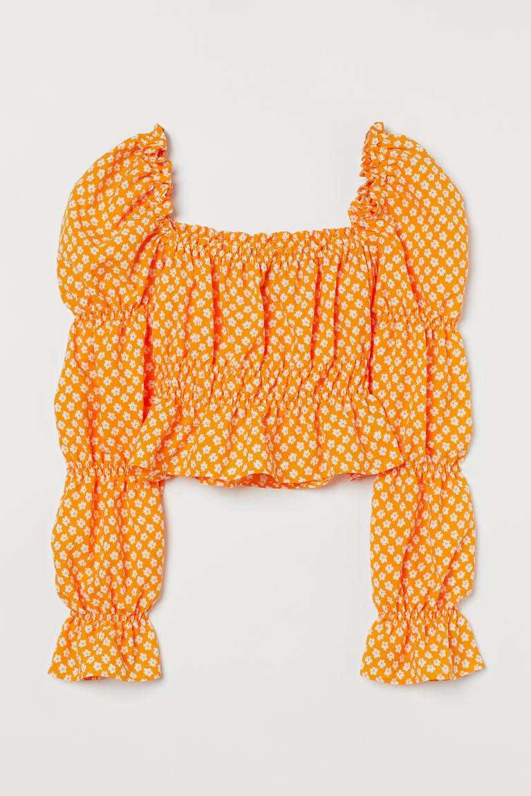H & M - 短版公主袖上衣 - 橙色
