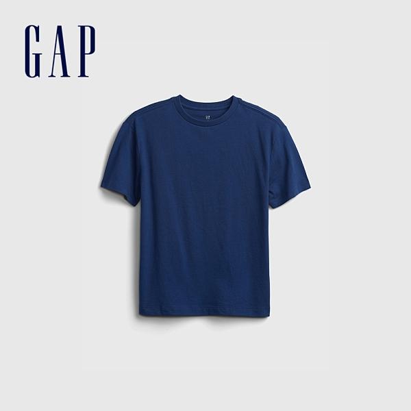 Gap男童 活力亮色透氣短袖T恤 682081-深藍色