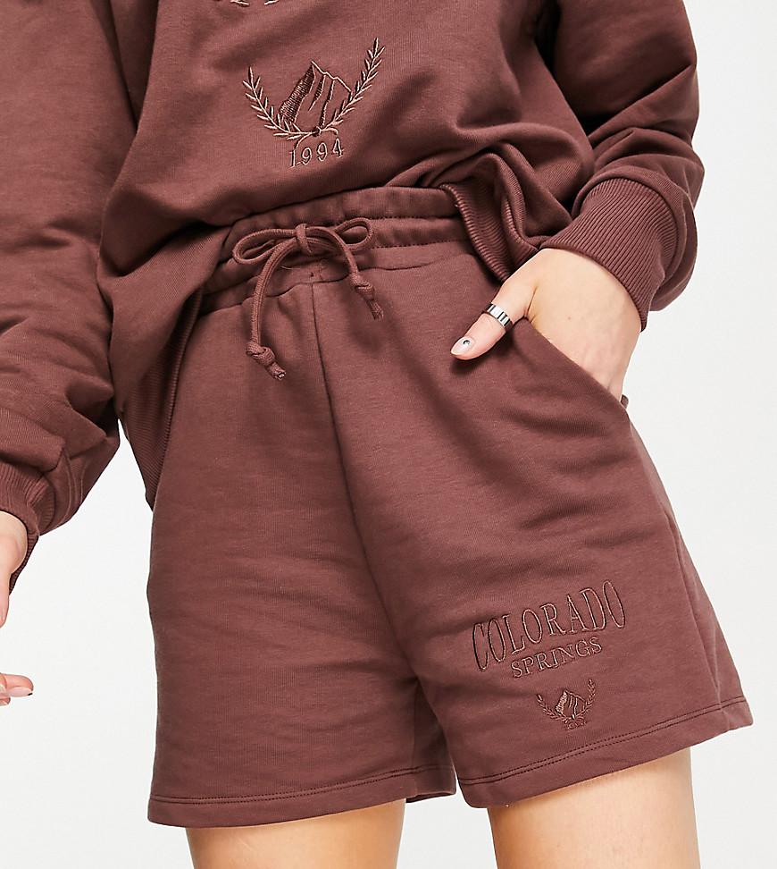 Stradivarius organic cotton varsity Colorado shorts co-ord in chocolate-Brown