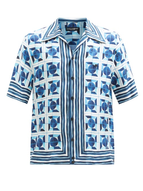 Dolce & Gabbana - Majolica-print Silk-twill Short-sleeved Shirt - Mens - Blue Multi