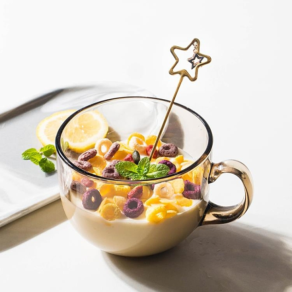北歐牛奶燕麥片早餐杯耐熱杯子可愛女酸奶大容量咖啡馬克杯ins風【快速出貨】