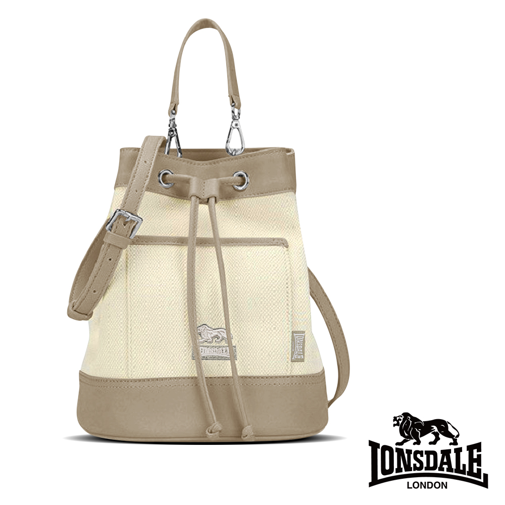 【LONSDALE 英國小獅】帆布皮革飾邊束口水桶包 LD1324-淺棕