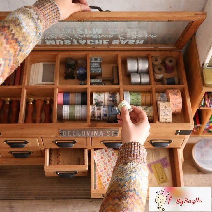 叁杉家居桌上創意翻蓋手賬拼貼素材整理分類文具盒膠帶貼紙收納盒#熱銷