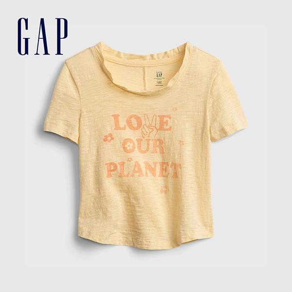 Gap女幼童 環保標語印花純棉短袖T恤 958588-淡黃色