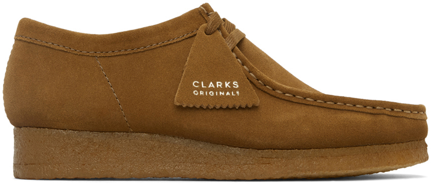 Clarks Originals 棕色 Wallabee 绒面革莫卡辛鞋