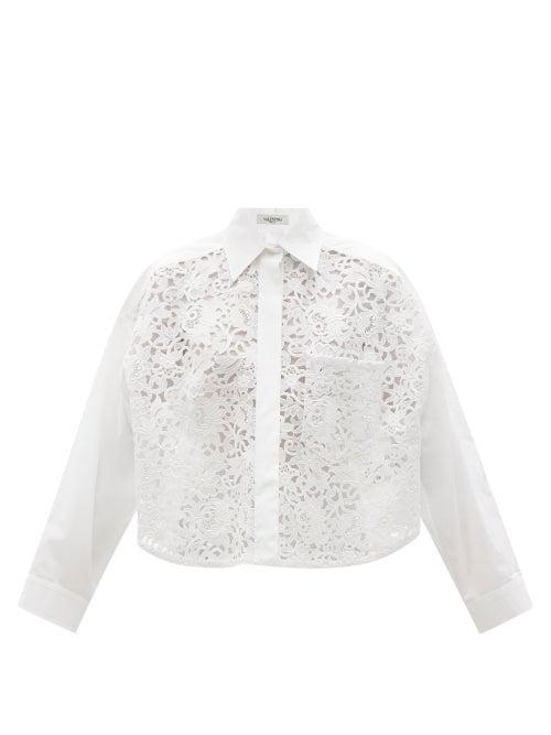 Valentino - Macramé-panel Cotton-blend Cropped Shirt - Womens - White