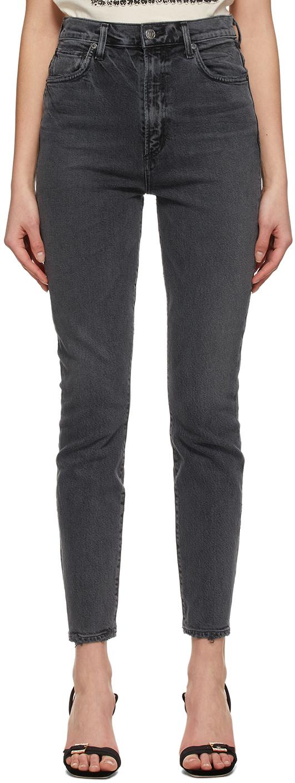 AGOLDE 灰色 Pinch Waist Ultra High Rise Skinny 牛仔裤